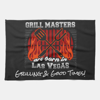 Grill Masters Are Born In Las Vegas Nevada Slogans Kitchen Towel