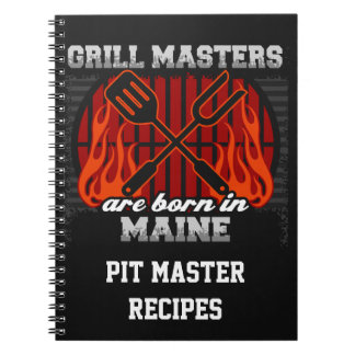 Grill Masters Are Born In Maine Personalized Spiral Notebook