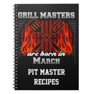 Grill Masters Are Born In March Personalized Note Books