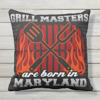 Grill Masters Are Born In Maryland Outdoor Pillow