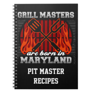 Grill Masters Are Born In Maryland Personalized Spiral Note Book