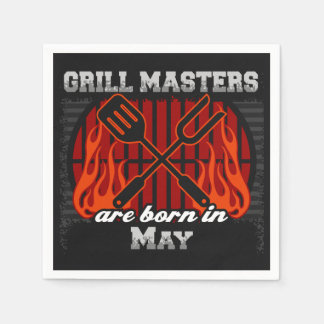 Grill Masters Are Born In May BBQ Birthday Paper Napkin