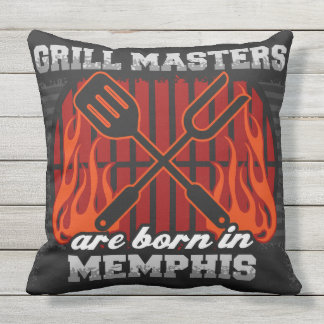 Grill Masters Are Born In Memphis Throw Pillow
