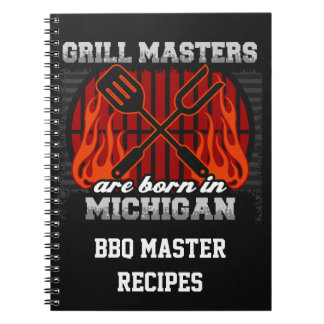 Grill Masters Are Born In Michigan Personalized Notebooks