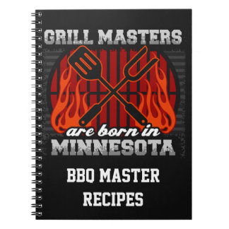 Grill Masters Are Born In Minnesota Personalized Spiral Notebooks