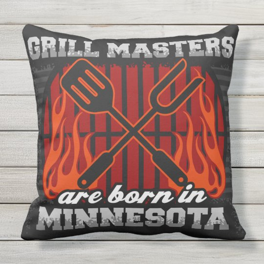 Grill Masters Are Born In Minnesota Throw Pillow
