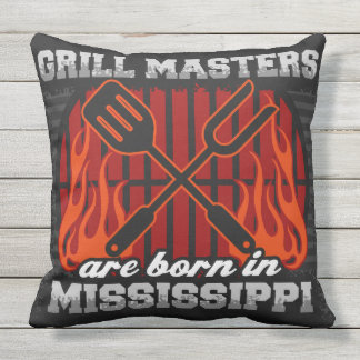 Grill Masters Are Born In Mississippi Outdoor Pillow