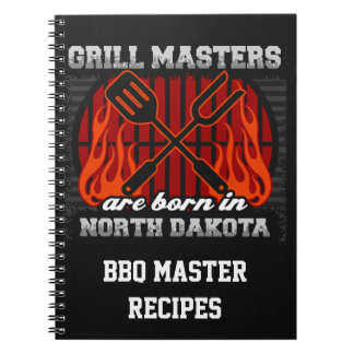 Grill Masters Are Born In N Dakota Personalized Spiral Notebooks