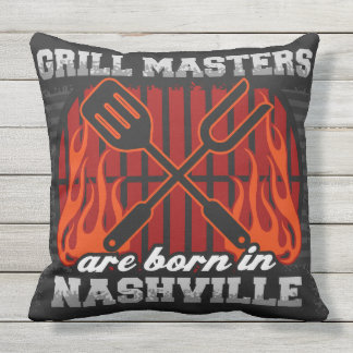 Grill Masters Are Born In Nashville Outdoor Pillow