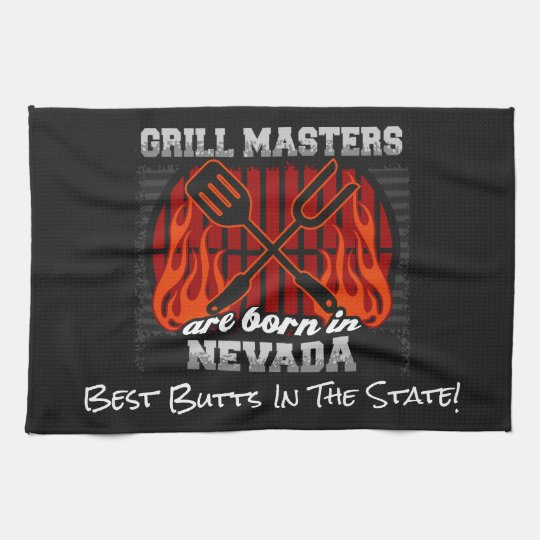 Grill Masters Are Born In Nevada Add A Slogan Hand Towels
