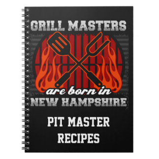 Grill Masters Are Born In New Hampshire Recipe Spiral Notebook