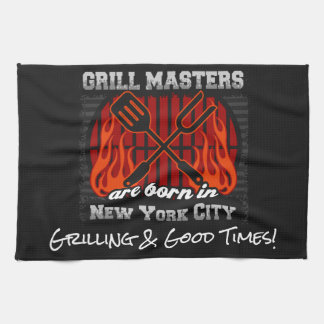 Grill Masters Are Born In New York City Any Slogan Kitchen Towel