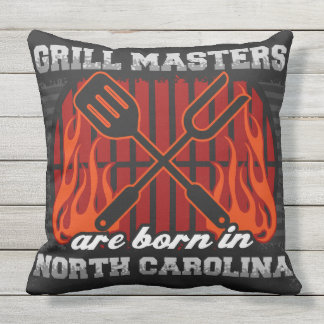 Grill Masters Are Born In North Carolina Throw Pillow