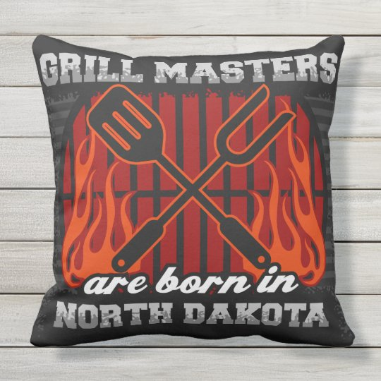 Grill Masters Are Born In North Dakota Outdoor Pillow