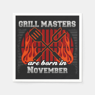 Grill Masters Are Born In November BBQ Birthday Disposable Napkins