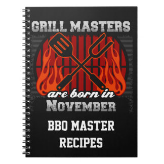Grill Masters Are Born In November Personalized Spiral Notebooks