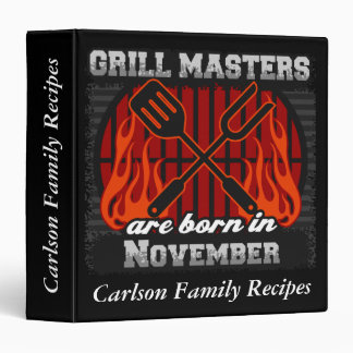 Grill Masters Are Born In November Personalized Vinyl Binders