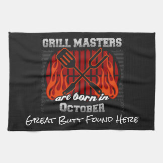 Grill Masters Are Born In October Add A Slogan Kitchen Towel