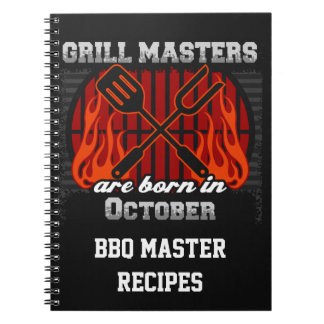 Grill Masters Are Born In October Personalized Note Books