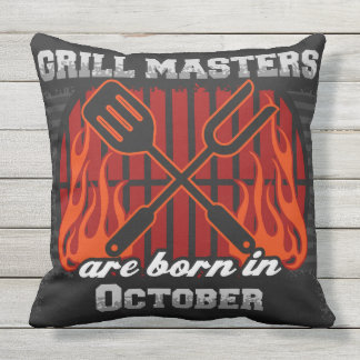 Grill Masters Are Born In October Throw Pillow
