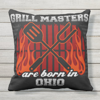 Grill Masters Are Born In Ohio Outdoor Pillow