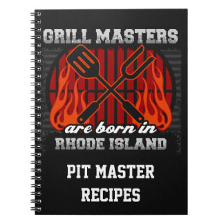 Grill Masters Are Born In Rhode Island Personalize Notebook