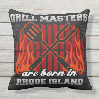 Grill Masters Are Born In Rhode Island Throw Pillow