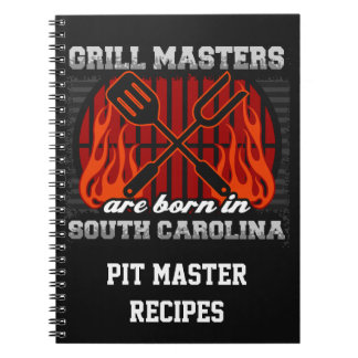 Grill Masters Are Born In S Carolina Personalized Notebook