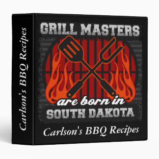 Grill Masters Are Born In S. Dakota Personalized Vinyl Binder