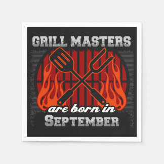 Grill Masters Are Born In September BBQ Birthday Napkin