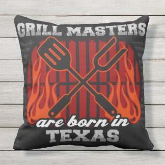 Grill Masters Are Born In Texas Throw Pillow