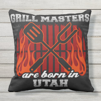Grill Masters Are Born In Utah Throw Pillow