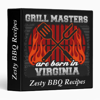 Grill Masters Are Born In Virginia Personalized 3 Ring Binder
