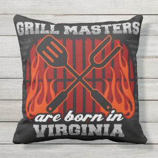Grill Masters Are Born In Virginia Throw Pillow