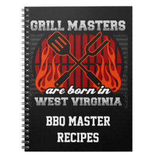 Grill Masters Are Born In W Virginia Personalized Spiral Note Book