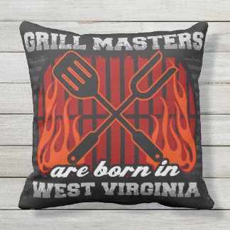 Grill Masters Are Born In West Virginia Throw Pillow