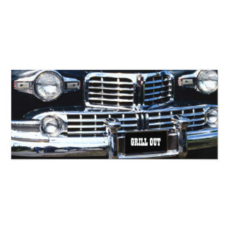 "GRILL OUT PARTY CLASSIC AUTO SHOW CAR INVITATION 4"" X 9.25"" INVITATION CARD"