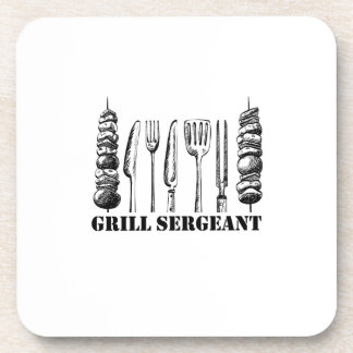 Grill Sergeant BBQ Grilling Hobby Funny  Men Women Coaster