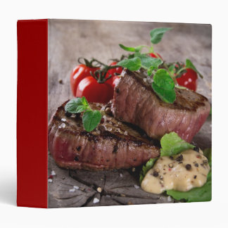 Grilled bbq steaks with fresh herbs and tomatoes vinyl binders