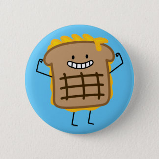 Grilled Cheese Sandwich Cheddar Toasted Bread 2 Inch Round Button