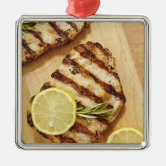 Grilled Chicken Breasts Silver-Colored Square Ornament
