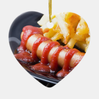 Grilled sausages and fried potato ceramic heart ornament