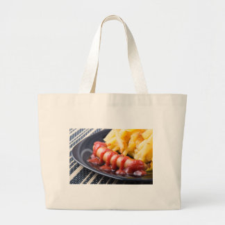 Grilled sausages and fried potato large tote bag