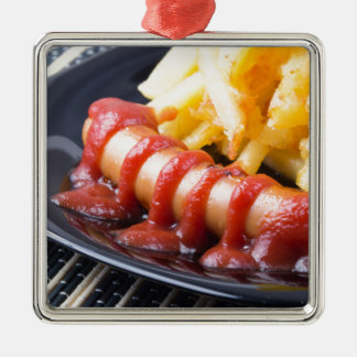 Grilled sausages and fried potato Silver-Colored square ornament
