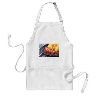 Grilled sausages and fried potato standard apron