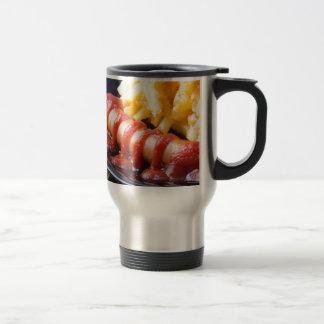 Grilled sausages and fried potato travel mug