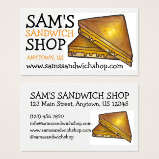 Grilled Toasted Cheese Sandwich Food Chef Diner Business Card