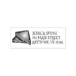 Grilled Toasted Cheese Sandwich Lunch Address Rubber Stamp