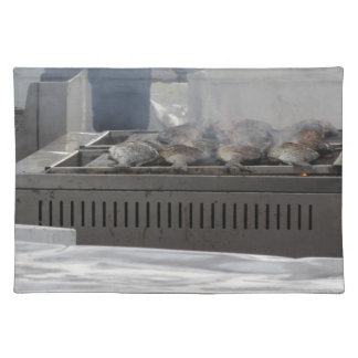Grilling fish outdoors placemat