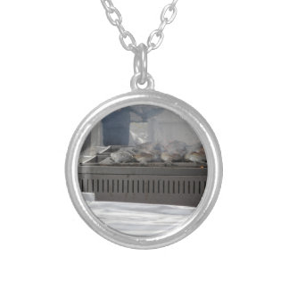 Grilling fish outdoors silver plated necklace